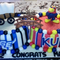 Transition Cake Friend wanted a transition cake, high school to college for his son. Sculpted fondant covered wagon and Jayhawk. This cake was a lot of fun...