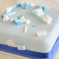 A Little Boys Lego Themed Christening Cake