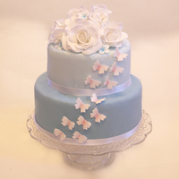Blue Butterfly And Rose Cake