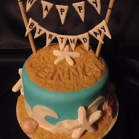 Beach Cake White cake with almond buttercream. Covered with MMF, sand is grated gram crackers. Yum!!
