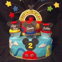 Mickey Mouse Clubhouse This cake was for TRIPLETS!! I made cupcakes for each of them. They loved it!