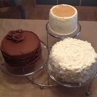 Trio Of Birthday Cakes Chocolate Kahlua mud cake wth chocolate buttercream, Caramel filled vanilla butter cake with Swiss Buttercream and a classic southern...