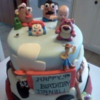 Toy Story Made for my Nephew's 4th birthday....created Mr. & Mrs. Potato Head and Etch-a-sketch; purchased the other characters. Took...