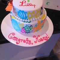 Lilly Pulitzer Chiquita Bonita Cake Hand Painted Lilly Pulitzer Cake inspired by the 'Chiquita Bonita' print