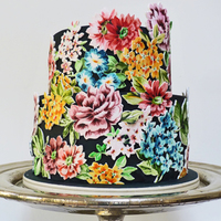 This Is A Cake I Have Made For A Wedding This Week The Cake Is Covered With Black Fondant And Then The Flowers Painted Onto White Gumpaste... This is a cake I have made for a wedding this week. The cake is covered with black fondant and then the flowers painted onto white gumpaste...