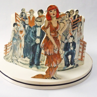 A Chocolate Mud Birthday Cake With A 1920S Feel The Front Figure Is A Likeness Of The Birthday Girl A chocolate mud birthday cake with a 1920's feel. The front figure is a likeness of the birthday girl