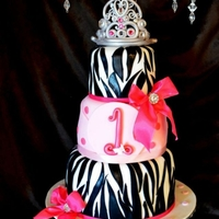 Pretty In Pink Zebra Cake   3 tiered Cake for a sweet 1 year old