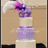 "5 Tiered Masquerade Quincea?era Cake Cake Sizes: 12"", 10"" 8"" 6"" and 4"""