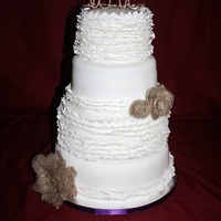 "Ruffle And Burlap Wedding This is a red velvet cake with white chocolate buttercream. Ruffles made from gum paste, burlap and ""love"" topper handmade by..."