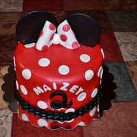 Minnie Mouse! Love the different technique I used for the ears, I used candy melts instead on fondant!