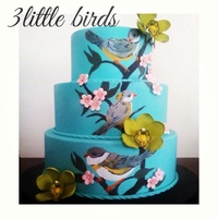 Anniversary Hand painted teal anniversary cake with edible sugar orchids and blossoms