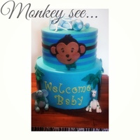 Baby Shower Christening Cakes Blue 2 tier monkey themed baby shower cake