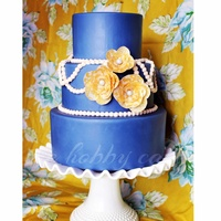 Something Blue... Vintage inspired, stylized wafer paper flowers and pearls