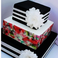 Bold Stripes And Watercolor Prints 3 tier 6,10,14 in tiers fondant stripes wafer flower and decoupage middle tier