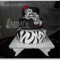Zebra Themed Wedding Cake Zebra Themed Wedding Cake (Black, White and Red) with Flowers and Rhinestones Border