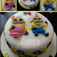 Minion Birthday Cake Girl and Boy Minion Celebrating a Double Birthday