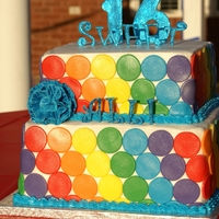 Sweet 16 Rainbow Cake Sweet 16 Rainbow Polka Dotted cake I made for a friend's daughter's birthday. I got the idea from a blog that mentioned Sweet Art...