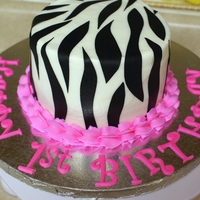 Hot Pink And Zebra Smash Cake BC and Sugar Sheets! stripes.