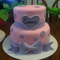 Polka Dot Purple And Pink Cake For A Sweet Little Girl polka dot purple and pink cake for a sweet little girl!