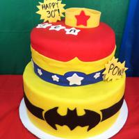 Wonder Woman And Batman Themed Cake! I made this for my cousin Jen who recently turned 30. She loves superheroes! I wanted to include Wonder Woman, cause I think my cousin is...