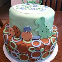 Baby Shower Cake! Baby Shower cake, inspired by the invitation. Blues, Greens, Browns and Dinosaurs :)