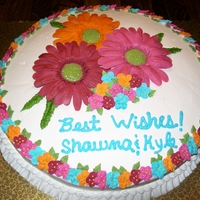 Wedding Shower Cake Flowers are made of fondant and royal frosting
