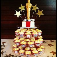 Hollywood Themed Cake Amp Cupcake Tower For Cales 30Th   Hollywood themed cake & cupcake tower for Cale's 30th.