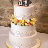 Penguin And Tulip Themed Cake For Sam And Alex Wedding Penguin and tulip themed cake for Sam and Alex' wedding!