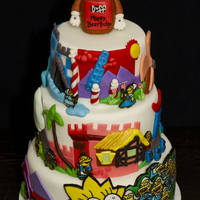 The Simpsons Cake Entirely Edible, hand painted fondant - Double Chocolate Stout Cake with Vanilla Bourbon Icing!!