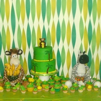 First Birthday Party Jungle Themed First Birthday party Jungle themed dessert table. Banana shaped cake pops, Chocolate cake and vanilla cupcakes.
