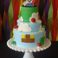Mario Birthday Cake Mario Birthday Cake I made for my sons 5th Birthday party. The cake is covered in MMF with MMF decorations and Mario was drawn on a...