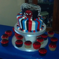 Spiderman Cake Vanilla Topsy Turvy Spiderman Cake. Made with Vanilla BC and MMF. All decorations are MMF.
