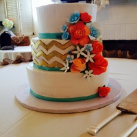 Shabby Chic Aqua And Coral With Gold Chevron