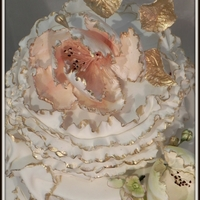 Vintage Gold Wedding Cake This was a gold vintage theme wedding where I handmade sugar tulips.
