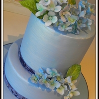 Wedgewood This is my wedgewood theme wedding cake. All the Hydrageas are made by me.
