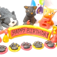 Kitty Cat Cake Decorations Made these out of fondant by hand to match the birthday girl's cats.