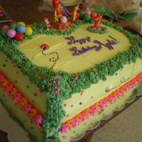Winnie The Pooh Birthday Cake This was my first decorated cake, and I was very pleased! I used a lot of tips and info that I found on CC. I made the cake for my daughter...