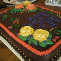 Farewell Cake Cake I made for a friend's farewell party for one of her coworkers. Two layer black magic cake with chocolate pudding filling and...