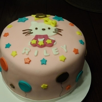 Hello Kitty Birthday Cake Six layer Graduated Pink Color Vanilla Cake with Strawberry Filling and Marshmallow Fondant