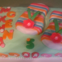 Flip Flip Cake Flip Flop Birthday Vanilla Cake Buttercream Icing Fondant Decorations Rice Krispies Treat Flip Flops