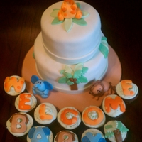 Jungle Themed Baby Shower Cake And Cupcakes Cake: French Vanilla , Lemon Filling, Vanilla Buttercream, Marshmallow Fondant DecorationsCupcakes: Chocolate Hazelnut, Vanilla Hazelnut...