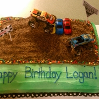 Monster Truck Cake   Chocolate Cake Sweet Buttercream icing and Cookie Dirt with Vanilla Cupcakes with Swiss Meringue Buttercream