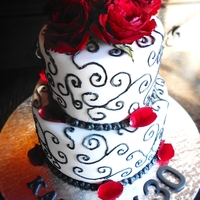 Elegant 30Th Fondant Cake Fondant and Sponge Cake with roses