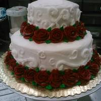 Two Tiered Round Wedding Cake With Dark Red Roses Around Both Tiers They Had Their Own Topper *two tiered round wedding cake with dark red roses around both tiers (they had their own topper)