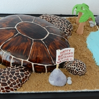 Turtle Turtle's body is made of cake. Head, tail and legs are made from RKT.Trees are made from gum paste.