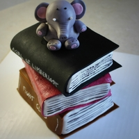 Book Cake For my friend who likes elephants and books.