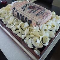 "Jim Beam Bottle Birthday Cake *Jim beam bottle and crate birthday cake. The crate is chocolate mudcake and ganache with chocolate panels and ""wood chips"". The..."