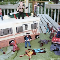 The Walking Dead Cake  This is a Walking Dead cake I made for my husband's birthday last weekend. The cake was made of Almond Fondant, Vanilla Cake and &quot...