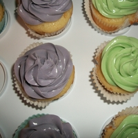 Purple And Green Cupcakes White cake with IMBC swirls.