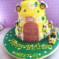 Bee Hive Happy Birthday Cake!! Cake: Carrot Cake w/ BC CrumbcoatBees: MarzipanAll other Decorations/Covering: Fondant